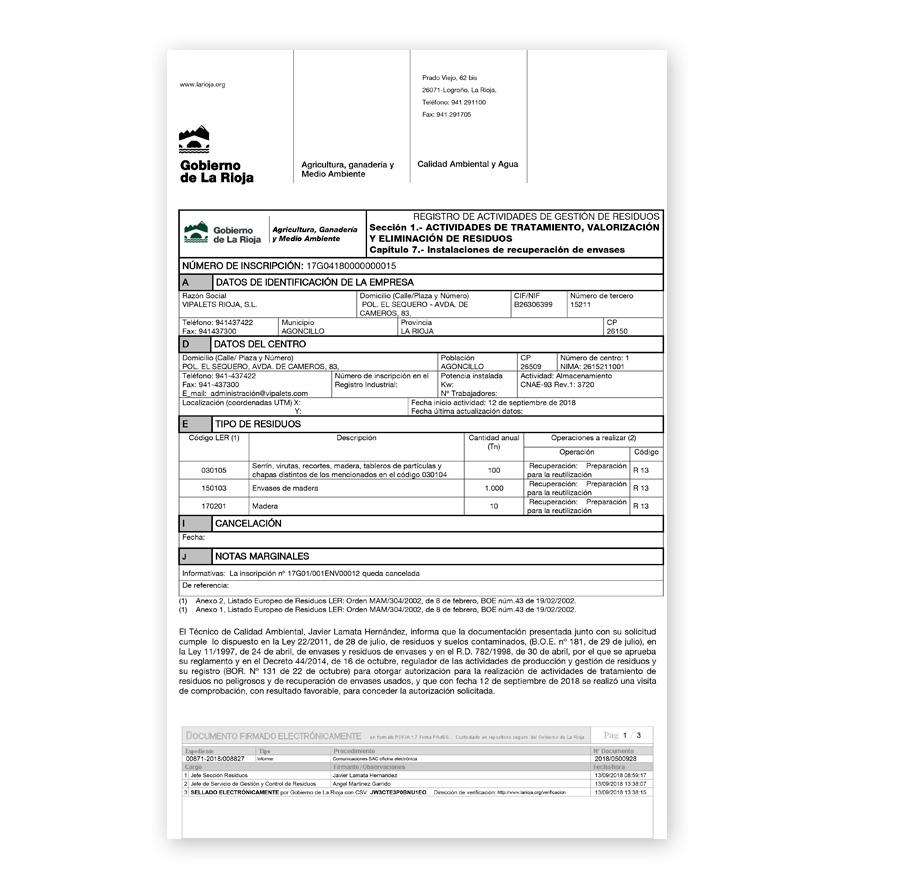 Certificado gestión de residuos