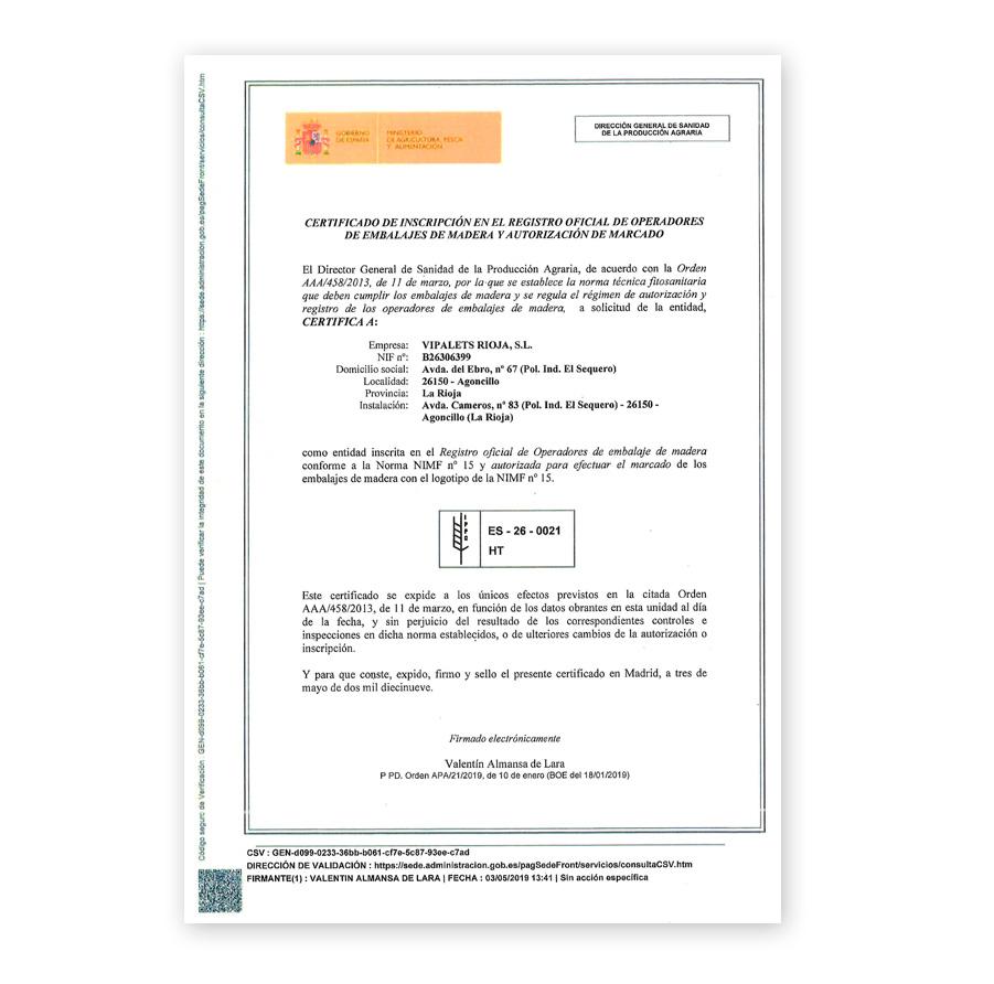 CERTIFICADO PARA LA APLICACION del tratamiento Fitosanitario según norma NIMF-15 ES260021HT
