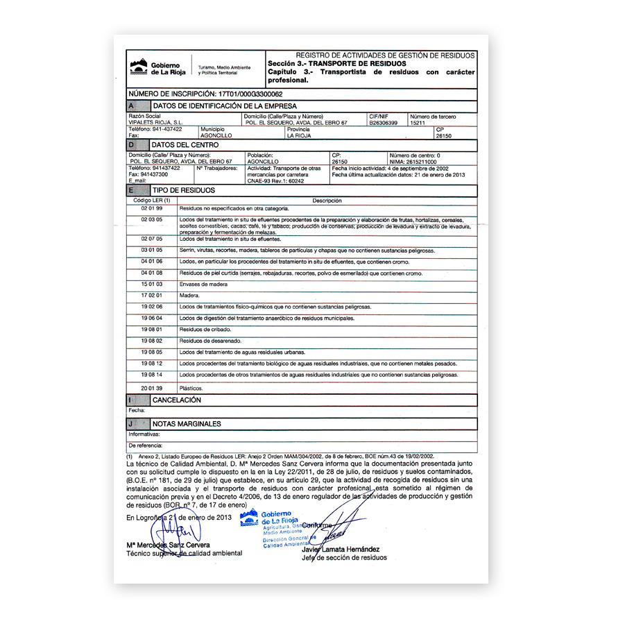 Certificado transporte de residuos